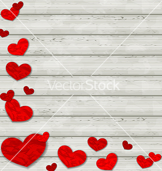 Free set crumpled paper hearts on wooden background vector - Kostenloses vector #238737
