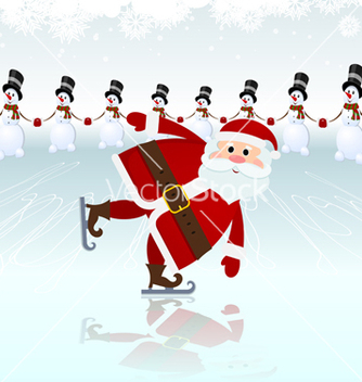 Free santa claus ice skating vector - бесплатный vector #238757