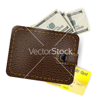 Free leather wallet with dollars and a gold credit card vector - vector gratuit(e) #238877