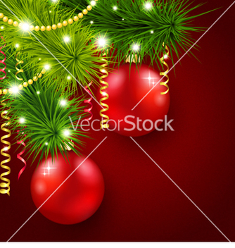 Free christmas tree decorated with red balls vector - vector gratuit(e) #239067