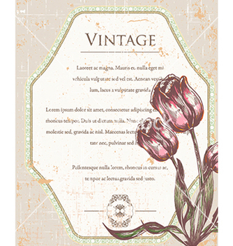 Free vintage frame with floral vector - Kostenloses vector #241007