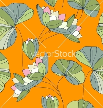 Free waterlily seamless flower tropical pattern vector - Free vector #242197