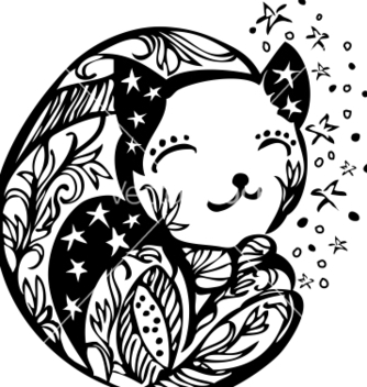 Free ornate sleeping kitten silhouette vector - vector gratuit #242437