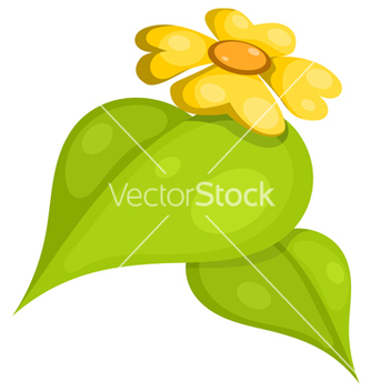 Free yellow flower with leaves cartoon eps10 vector - vector gratuit(e) #242487