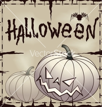 Free halloween card wtih pumpkin over old paper vector - бесплатный vector #242697