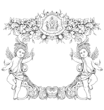 Free victorian frame with angels vector - Free vector #243117