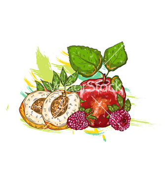 Free fruits with colorful splashes vector - Free vector #243277