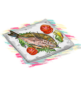 Free cooked fish vector - Free vector #243327