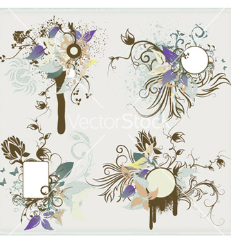 Free vintage floral frames set vector - Kostenloses vector #244077