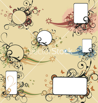 Free vintage floral frames set vector - Free vector #244907