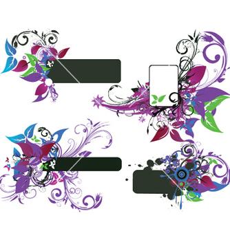 Free grunge floral frames set vector - Kostenloses vector #245127