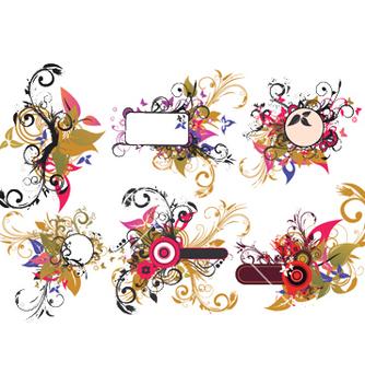 Free vintage floral frames set vector - Free vector #245887