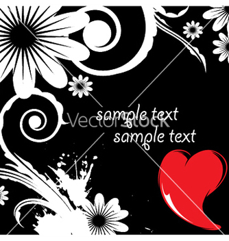 Free floral background with heart and splash vector - vector gratuit(e) #246497