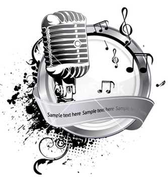 Free microphone on a label vector - vector gratuit(e) #249687