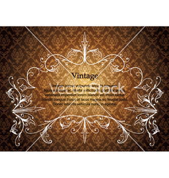 Free vintage floral frame with damask background vector - Free vector #250037