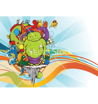 Free funny monsters background vector - Free vector #250427