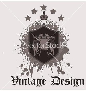 Free vintage emblem with shield vector - Kostenloses vector #251327