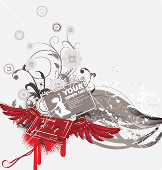 Free cassette with wings and grunge vector - Kostenloses vector #252087