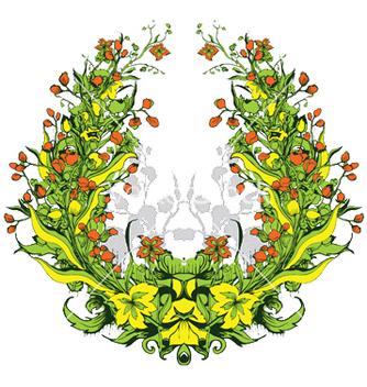 Free floral frame vector - Kostenloses vector #253627