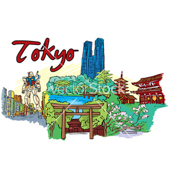 Free tokyo doodles vector - Free vector #254597