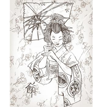Free hand drawn geisha vector - Free vector #254837