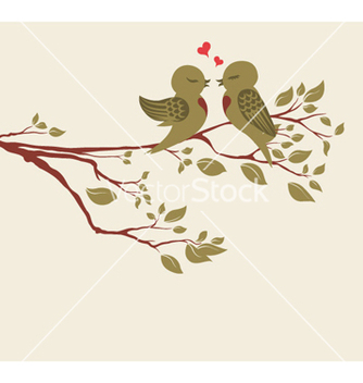 Free love birds on branch vector - vector gratuit #255357