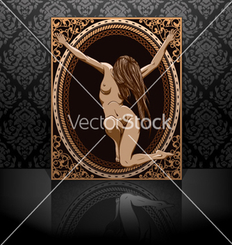 Free vintage frame with sexy girl vector - Free vector #255427