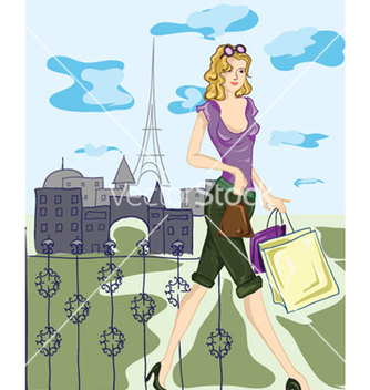 Free paris doodles with shopping lady vector - Kostenloses vector #255717