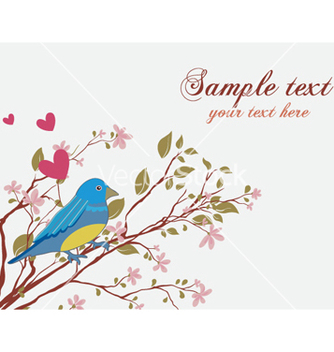 Free bird with floral vector - Free vector #256667