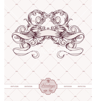 Free vintage label with ribbon and floral vector - Free vector #256707