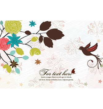 Free bird with floral vector - Free vector #257617