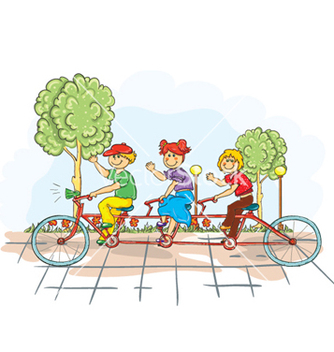 Free kids on a bike vector - Free vector #258237