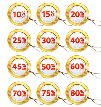 Free gold shopping tags set vector - Free vector #258947