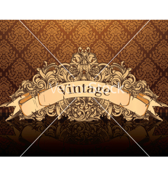 Free vintage emblem with damask background vector - Free vector #260557
