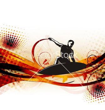 Free surfer on wave vector - vector gratuit #260787
