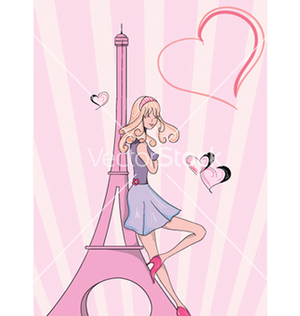 Free paris doodles with lady vector - Free vector #261607