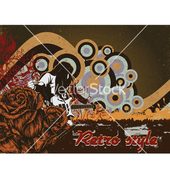 Free music poster with rock star and roses vector - Free vector #261877