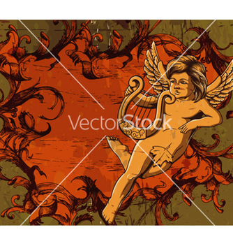 Free grunge floral frame with angel vector - Free vector #262607