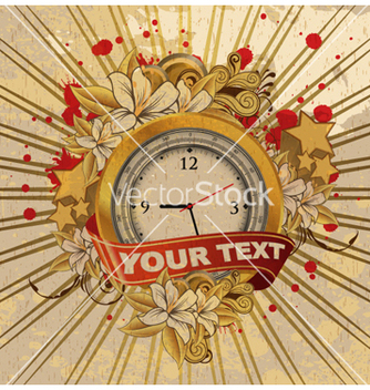 Free vintage emblem with gold clock vector - бесплатный vector #262647