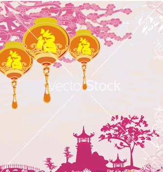 Free old paper with asian landscape and chinese lantern vector - Free vector #266687