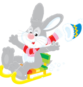 Free hare driving in a sled vector - Free vector #266797