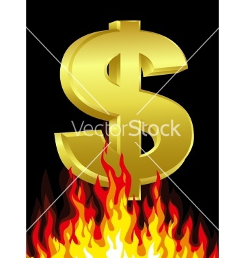 Free dollar on fire vector - Free vector #266867