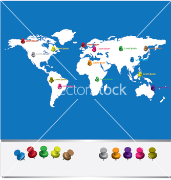 Free world map with pins vector - vector #266967 gratis