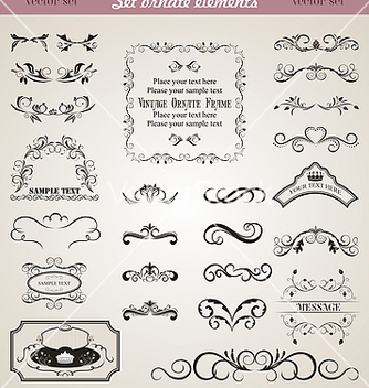 Free set floral ornate design elements vector - Free vector #267737
