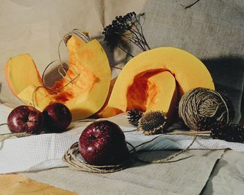 Red apples, pieces of pumpkin and dry sunflower, #apples - Free image #272167