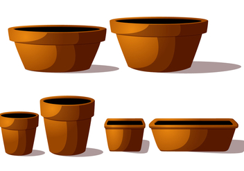 Terra Cotta Pot Vectors - Free vector #272427