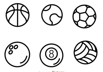 Sport Ball Outline Icons - Free vector #272457