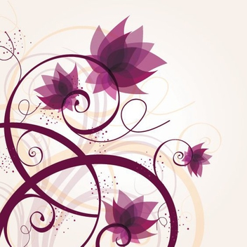 Purple Flowers Swirling Plants - Free vector #272497