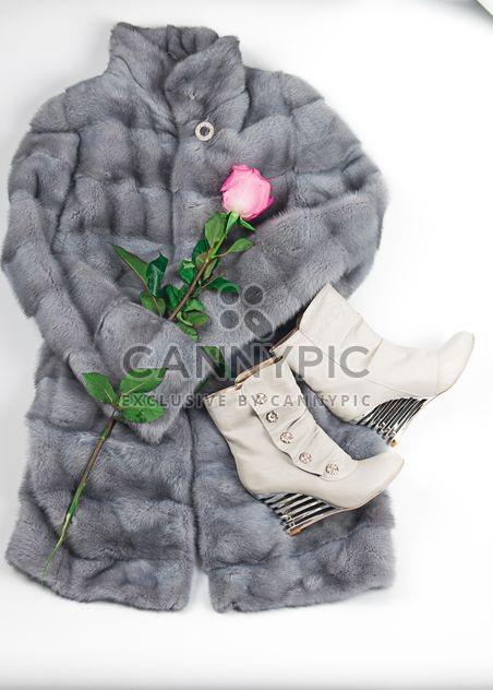 Warm fur coat, boots and rose on white background - Free image #272537