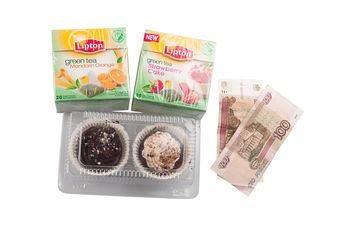Tea packing and cakes for 3 dollars, Russia, St. Petersburg - image #272557 gratis